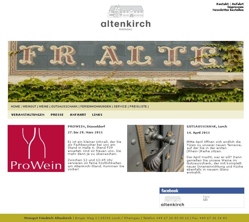 Homepage des Weingut Altenkirchs, Lorch, Rheingau