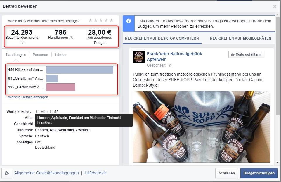 Erfolgsmessung der Facebook-Kampagne.